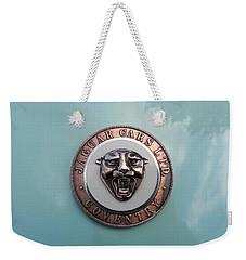 Weekender Tote Bag featuring the photograph Jaguar Hood Emblem by Cheryl Hoyle