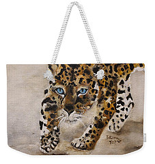 Weekender Tote Bag featuring the painting Big Cat Stalk by Barbie Batson