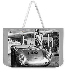 James Dean Filling His Spyder With Gas Black And White Weekender Tote Bag by Doc Braham