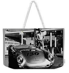 James Dean Filling His Spyder With Gas In Black And White Weekender Tote Bag by Doc Braham