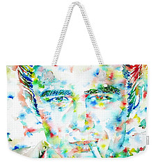 James Dean Smoking Cigarette - Watercolor Portarit Weekender Tote Bag by Fabrizio Cassetta