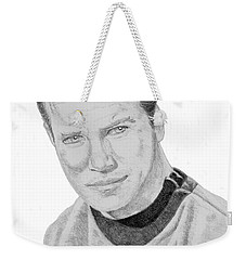 Weekender Tote Bag featuring the drawing James Tiberius Kirk by Thomas J Herring