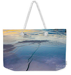 Weekender Tote Bag featuring the photograph January Sunset On A Frozen Lake by Nina Silver