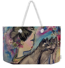 Japanese Lady And Felines Weekender Tote Bag