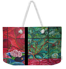 Weekender Tote Bag featuring the painting Japanesse Flower Arrangment by Joshua Morton