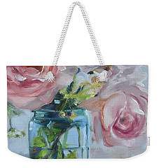 Jar Of Pink Weekender Tote Bag by Donna Tuten