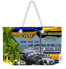 Weekender Tote Bag featuring the photograph Jeep Beach 2013 Welcomes All Jeepers by DigiArt Diaries by Vicky B Fuller