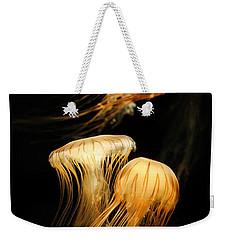 Jellyfish Trio Floating Against A Black Weekender Tote Bag