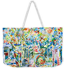 Jerry Garcia And The Grateful Dead Live Concert - Watercolor Portrait Weekender Tote Bag by Fabrizio Cassetta