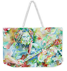 Jerry Garcia Playing The Guitar Watercolor Portrait.3 Weekender Tote Bag by Fabrizio Cassetta