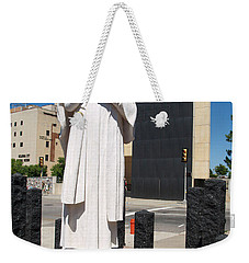 Weekender Tote Bag featuring the painting Jesus Wept by Robin Maria Pedrero
