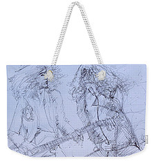 Jimmy Page And Robert Plant Live Concert-pen Portrait Weekender Tote Bag by Fabrizio Cassetta
