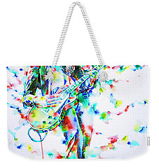 Jimmy Page Playing The Guitar - Watercolor Portrait Weekender Tote Bag by Fabrizio Cassetta