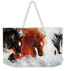 Weekender Tote Bag featuring the painting Joe Tj Apache by Barbie Batson