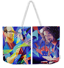 Weekender Tote Bag featuring the painting Joel And Andy by Joshua Morton
