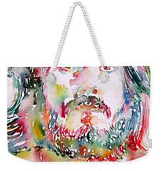 John Bonham Watercolor Portrait Weekender Tote Bag by Fabrizio Cassetta
