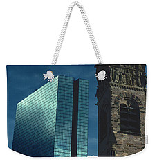 Weekender Tote Bag featuring the photograph John Hancock Building First Baptist Church Boston by Tom Wurl