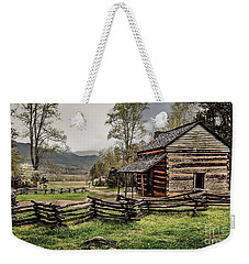 Weekender Tote Bag featuring the photograph John Oliver's Cabin In Spring. by Debbie Green