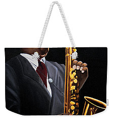 Johnny And The Sax Weekender Tote Bag by Barbara McMahon