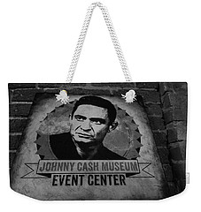 Johnny Cash Black And White Weekender Tote Bag by Dan Sproul