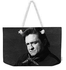 Weekender Tote Bag featuring the photograph Johnny Cash Close-up The Man Comes Around Music Homage Old Tucson Az  by David Lee Guss