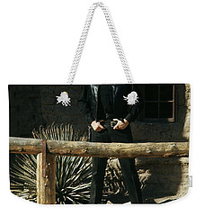 Weekender Tote Bag featuring the photograph Johnny Cash Gunfighter Hitching Post Old Tucson Arizona 1971 by David Lee Guss
