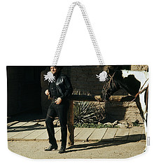 Weekender Tote Bag featuring the photograph Johnny Cash Horse Old Tucson Arizona 1971 by David Lee Guss