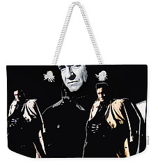 Weekender Tote Bag featuring the photograph Johnny Cash Multiples  Trench Coat Sitting Collage 1971-2008 by David Lee Guss