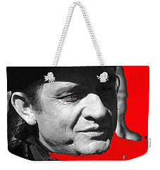 Weekender Tote Bag featuring the photograph Johnny Cash Music Homage Ring Of Fire Old Tucson Arizona 1971 by David Lee Guss