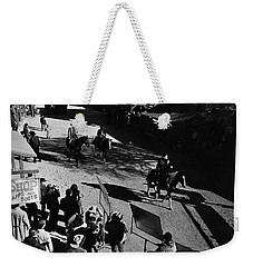 Weekender Tote Bag featuring the photograph Johnny Cash Riding Horse Filming Promo Main Street Old Tucson Arizona 1971 by David Lee Guss
