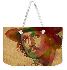 Johnny Depp Watercolor Portrait On Worn Distressed Canvas Weekender Tote Bag by Design Turnpike