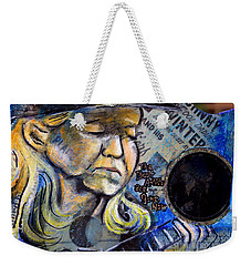 Johnny Winter Painted Guitar Weekender Tote Bag by Fiona Kennard