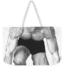Weekender Tote Bag featuring the drawing Johnson by Tamir Barkan