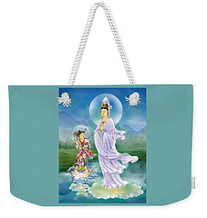 Weekender Tote Bag featuring the photograph Joining Palms Kuan Yin by Lanjee Chee