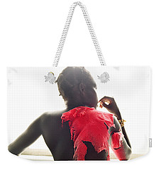 Weekender Tote Bag featuring the photograph Josephine Red by Rebecca Harman