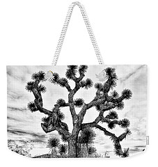 Weekender Tote Bag featuring the photograph Joshua Black And White by Benjamin Yeager