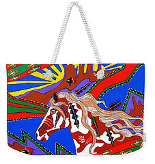 Weekender Tote Bag featuring the painting Journeys Past by Debbie Chamberlin