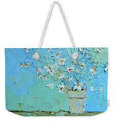 Joyful Daisies, Flowers, Modern Impressionistic Art Palette Knife Oil Painting Weekender Tote Bag