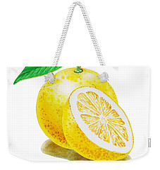 Weekender Tote Bag featuring the painting Juicy Grapefruit by Irina Sztukowski