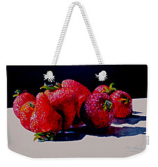 Weekender Tote Bag featuring the painting Juicy Strawberries by Sher Nasser