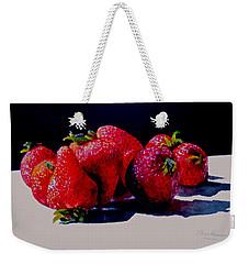 Weekender Tote Bag featuring the painting Juicy Strawberries by Sher Nasser