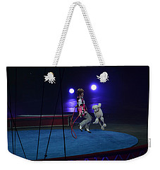 Weekender Tote Bag featuring the photograph Jumprope With Fido by Robert Meanor
