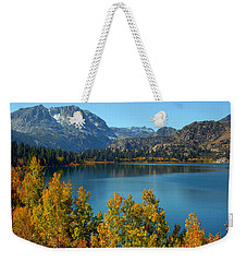Weekender Tote Bag featuring the photograph June Lake Blues And Golds by Lynn Bauer