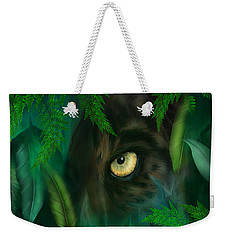 Jungle Eyes - Panther Weekender Tote Bag by Carol Cavalaris