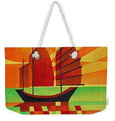 Weekender Tote Bag featuring the painting Junk On A Sea Of Green by Tracey Harrington-Simpson