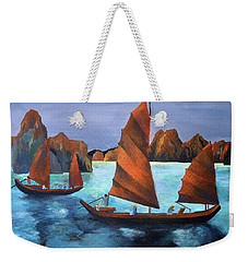 Weekender Tote Bag featuring the painting Junks In The Descending Dragon Bay by Tracey Harrington-Simpson