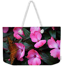 Weekender Tote Bag featuring the photograph Just A Small Taste For This Butterfly by Thomas Woolworth