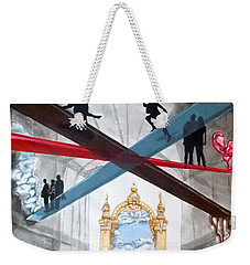 Weekender Tote Bag featuring the painting Just Paths  by Lazaro Hurtado