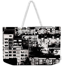 Weekender Tote Bag featuring the photograph Black And White - Juxtaposed And Intimate Vancouver View At Night - Fineart Cards by Amyn Nasser
