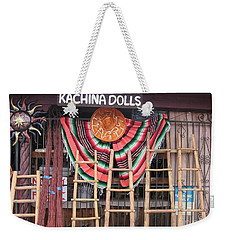 Weekender Tote Bag featuring the photograph Kachina Dolls Local Store Front by Dora Sofia Caputo Photographic Art and Design